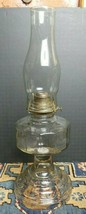 Antique Oil Lamp Aladdin Clear Pressed Glass Base Unknown Riser W/Chimney - $52.82