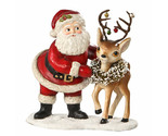Bethany Lowe Santa w/ Reindeer Bells Christmas Retro Vntg Home Decor Figurine