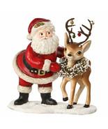 Bethany Lowe Santa w/ Reindeer Bells Christmas Retro Vntg Home Decor Figurine - €41,92 EUR