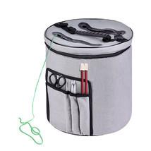 Knitting Bag Yarn Storage Organizer Canvas Round Gray Compartment Thread... - $20.09
