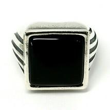 Ring Herren 925 Silber Glanz, Brüniert, Onyx Eckige Cabochons, Verstellbar image 2
