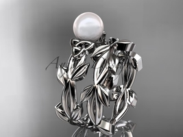 Celtic white gold pearl leaves bridal ring set CTP7522S - $1,125.00