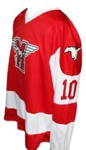 Custom Name # Youngblood Movie Hamilton Mustangs Hockey Jersey New Red Any Size image 4