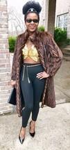 Designer Multicolor Sable hue Tiger stripe Mink fur coat Jacket stroller... - $999.99