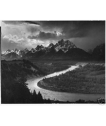 Ansel Adams B&W Photo Framed Print The Tetons Snake River Mountains 12in x 18in - $11.88
