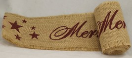 """Merry Christmas Burlap Ribbon with Burgundy Writing, 4"""" x 10' - by Count... - $537,63 MXN"""