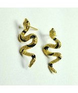 E0073 Gold Color Metal Animal Snake Crawl Curved Mini Stud Post Earrings - $7.99