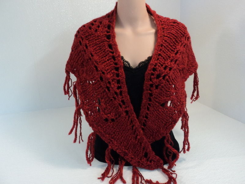 Handcrafted Wrap Shawl Length is 56in Red Fringes 100% Merino Wool Female Adult
