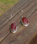 Classy Faceted Carnelian Oval Dangle Earrings - $44.00