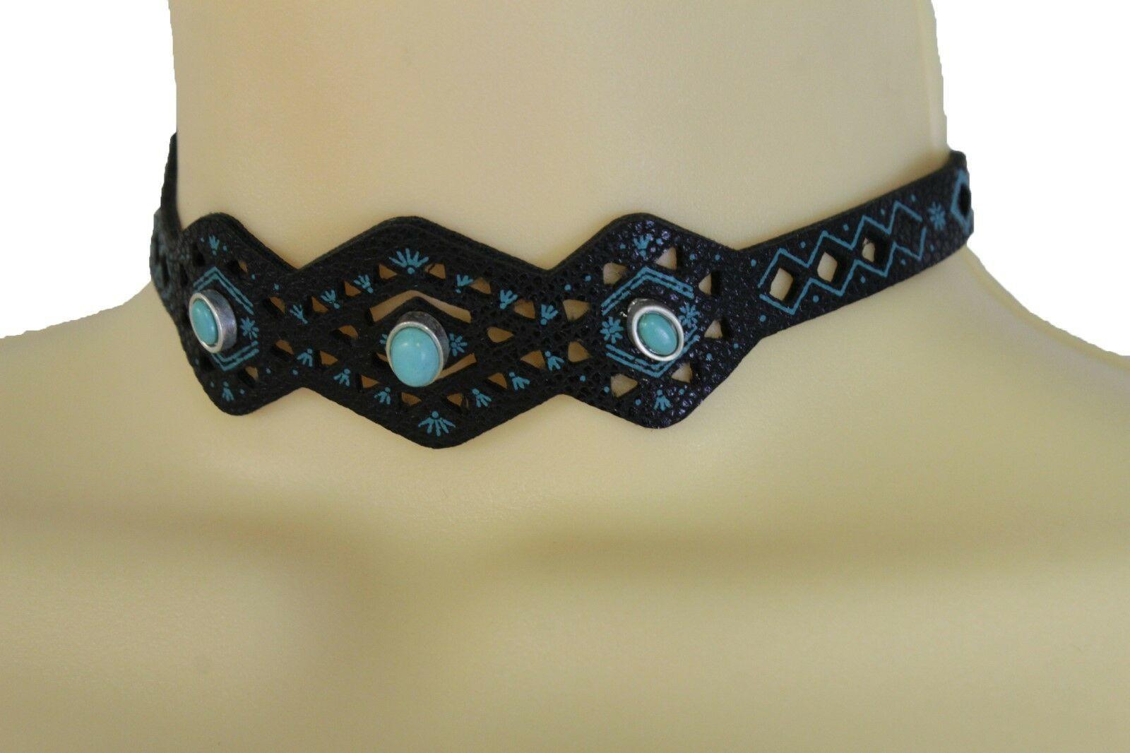 Damen Schwarz Kunstleder Halsband Ethno Boho Vintage Blau Perlen