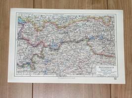 1928 ORIGINAL VINTAGE MAP OF WESTERN AUSTRIA VORARLBERG TYROL TIROL ITALY - $11.09