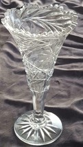 Beautiful Vintage Scallop Rim Crystal Footed Vase - Clear Crystal - GORGEOUS - $19.79