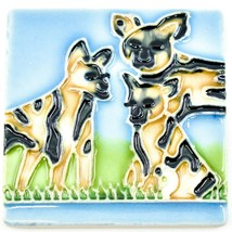 """Jaco Hand-Painted African Wild Dog Raised Relief High Gloss 3"""" Tile Magnet"""