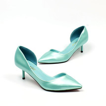 pp304 Cutie medium heels pointy pumps in candy color, US Size 5-8.5 blue - $42.80