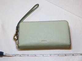 Fossil SL7151336 RFID Emma Smartphone Wristlet Lght Sage wallet clutch leather*^ image 2
