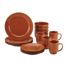 16 PC Dinnerware Set Rachael Ray Pumpkin Orange Solid Stoneware Kitchen ... - $59.01