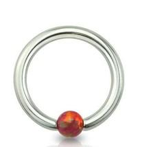 """Captive Lip Ear Ring 16 Gauge 3/8"""" w/Opal Red 3mm Gem Ball Steel Body Jewe - $7.59"""