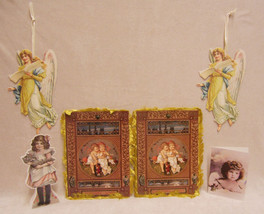 Lot Of 6 Victorian Cards Christmas Everyday Angels - $10.84