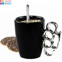 BRASS KNUCKLE DUSTER HANDLE SHAPED MUG CUP COFFEE TEA CERAMIC BLACK NOVE... - £11.41 GBP