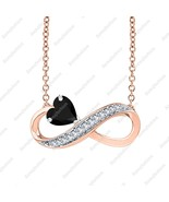Heart Cut Infinity Pendant Necklace Black & White Dia 14K Rose Gold Over... - $68.79