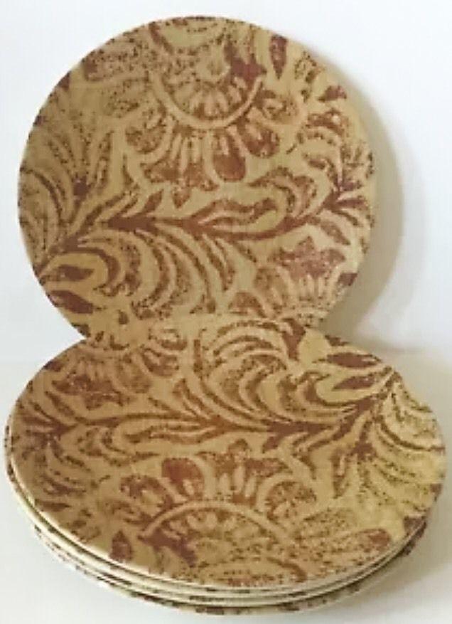 Precidio Melamine Picnic Plastic Plates Beige Brown Floral Earth Tones Round & Precidio Melamine Picnic Plastic Plates and 50 similar items