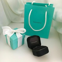 Tiffany & Co Ring Box Black Suede with Blue Box and Blue Gift Bag - $109.00