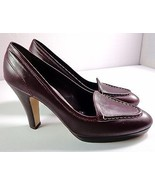 Max Mara Womens Leather Pumps Burgundy Brown Heels Made in Italy Size 38... - $159.95