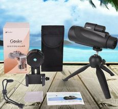 12X50 High Power Prism Monocular Scope, Smartphone Holder, & Handheld Tripod Kit image 9