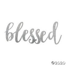 Large Galvanized Metal Blessed Cutout - $25.10