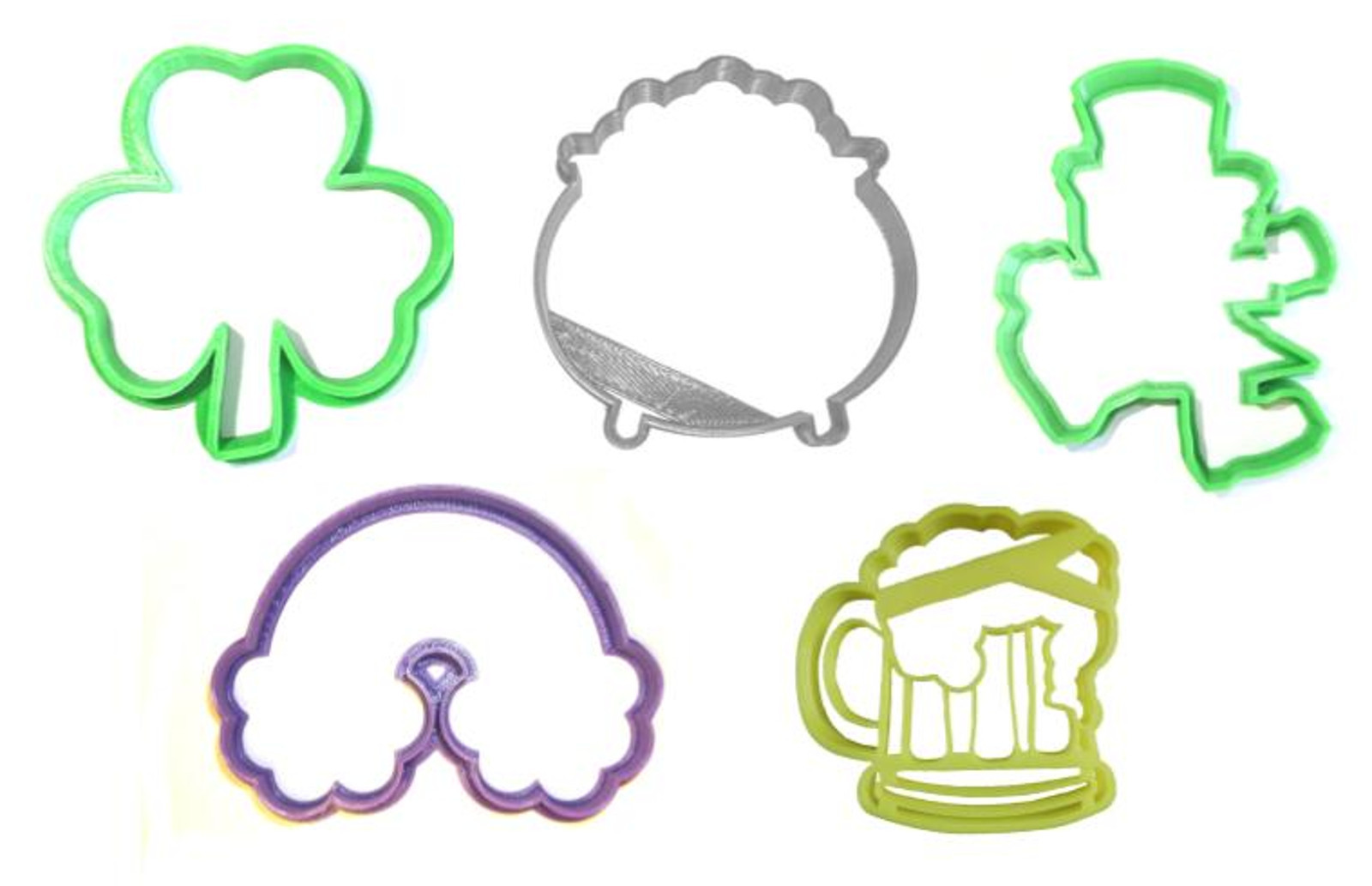 Primary image for Saint Patrick's Day Shamrock Leprechaun Set Of 5 Cookie Cutters USA PR1161