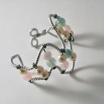 Bracelet Aluminum with Aquamarine Multi-Colored Pearls image 3