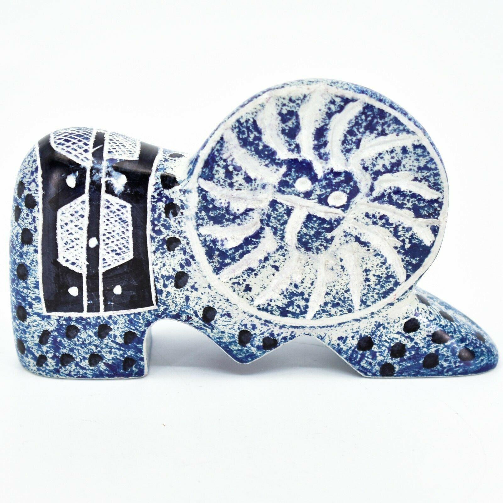 """Crafts Caravan Hand Carved Soapstone """"Denim Blue"""" Lion Figurine Made in Kenya"""