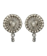 Vintage Style Tribal Floral Oxidized Silver Stud Earrings Fashion Jewelry - $59.36