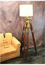 Designer Huge Commercial Tripod Floor Lamp Antique Brass Wood - By Nauti... - $494.01