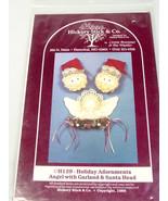 Stuffed Santa angel pattern Christmas garland decoration 1980s - $10.79