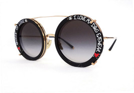 DOLCE & GABBANA Women's Sunglasses DG2198 02/8G QUEEN OF LOVE Blk/Gold I... - $235.00