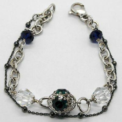 Silber Armband 925 Rhodium und Brüniert mit Kristallen Bunt Made in Italien