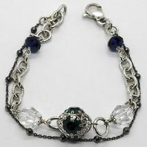 Silber Armband 925 Rhodium und Brüniert mit Kristallen Bunt Made in Italien image 1
