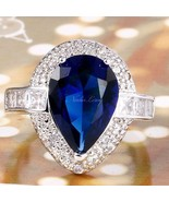 NEW Marquise 3 Carat Blue&White Sapphire Ring~Sterling Silver~Sizes  7 8... - $39.99