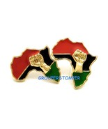 Africa With Power Fist Post Style Pierced Stud Earrings  - $11.99
