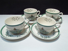 4 Vintage Spode Christmas Tree Cup and Saucer Sets ~~ Made in England Excellent - $24.95