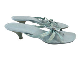 TOD'S Aqua Reptile Leather Strappy Thong Sandals size 8 image 4