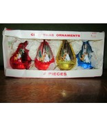 4 Vintage Jewelbrite Diorama Teardrop Plastic Christmas Ornaments-Angel/... - $20.00