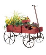 Vintage look Flower Planter Stand distressed Wood wagon Wheel barrow garden - $34.95