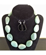 30MM Green Aventurine and Black Quartz Necklace and Earrings - New - $55.00