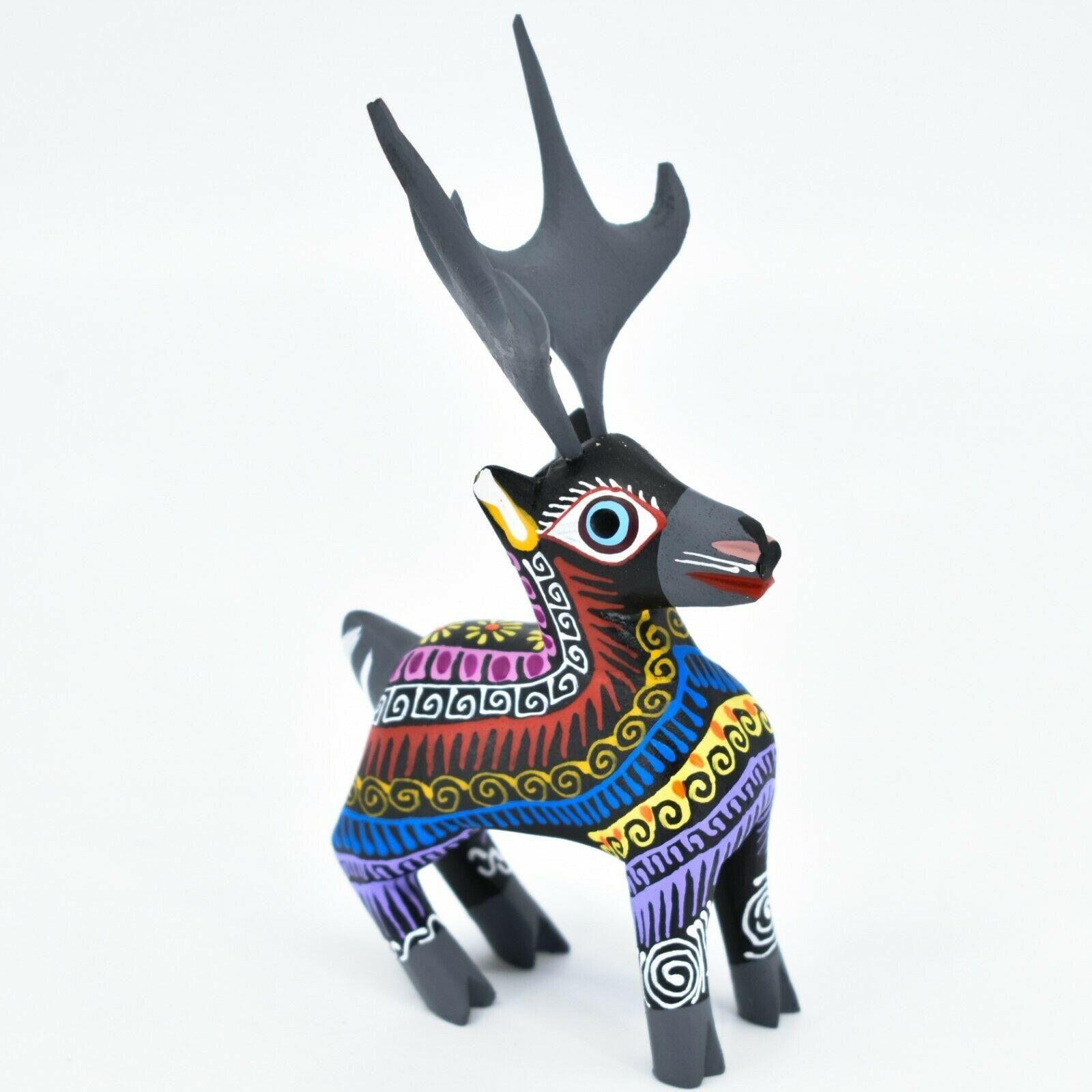 Handmade Alebrijes Oaxacan Copal Wood Carving Folk Art Deer Reindeer Figurine