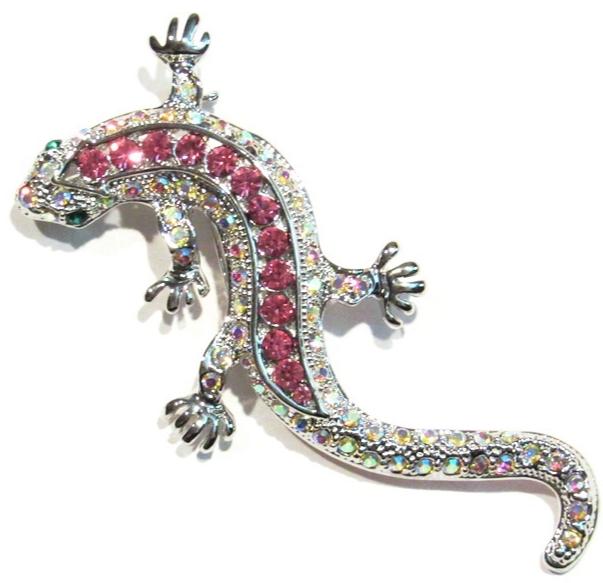 Lizard Pin Brooch Pendant Pink Aurora Borealis Crystal Silvertone Metal Animal - $16.99