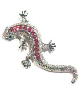Lizard Pin Brooch Pendant Pink Aurora Borealis Crystal Silvertone Metal ... - $16.99