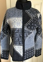 Talbots Blue & White Print Full Zip Sweater 100% Merino Boiled Wool Wome... - $29.69