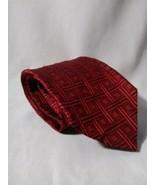 ERMENEGILDO ZEGNA Recent Red Black Geometric 100% Silk Mens Luxury Tie -... - $61.75